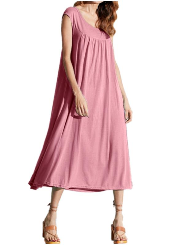 Maxi Dresses for Women Casual Loose Long Dress Solid Sleeveless