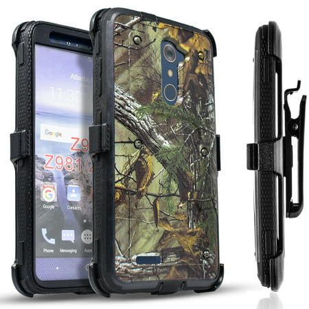 ZTE Max Duo LTE Case, ZTE Imperial Max Case, [SUPER GUARD] Dual Layer Protection With [Built-in Screen Protector] Holster Locking Belt Clip+Circle(TM) Stylus Touch Screen Pen (Imperial Mall)