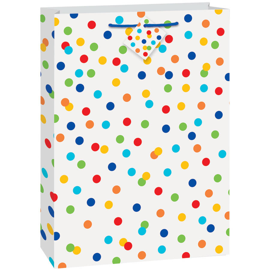 Jumbo Rainbow Dot Confetti Gift Bag