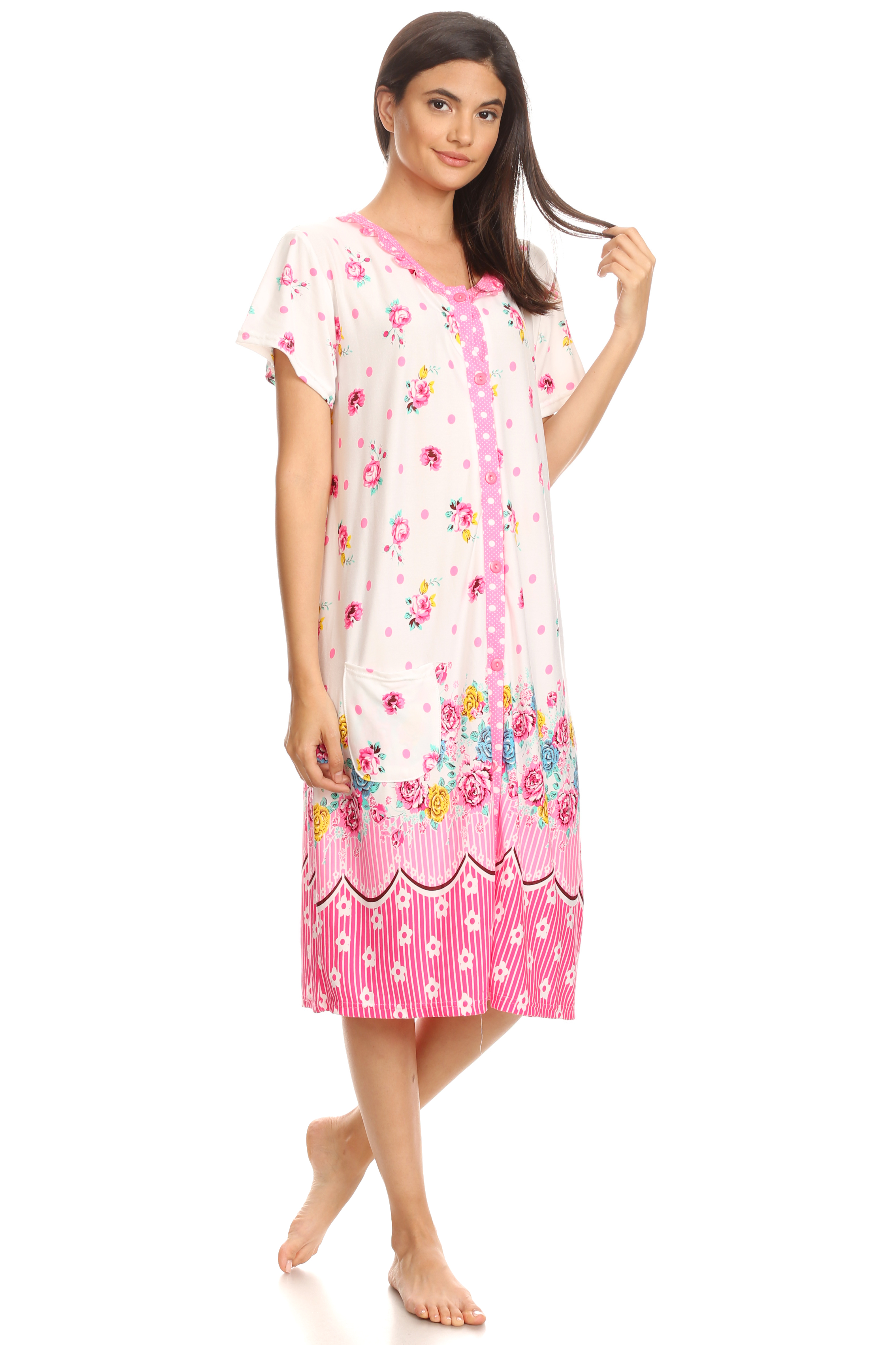 for My Mom Breast Cancer Awareness Nightshirt for Women Comfort Nightwear Soft Nightgown Short-Sleeve Fashion Print