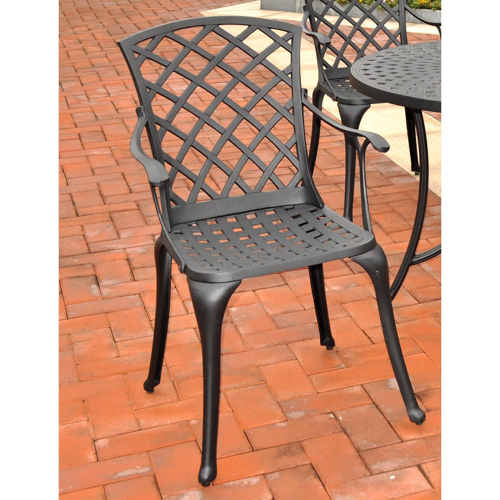 Crosley Furniture Sedona Cast Aluminum High Back Arm Chair in Charcoal Black Finish, 2pk