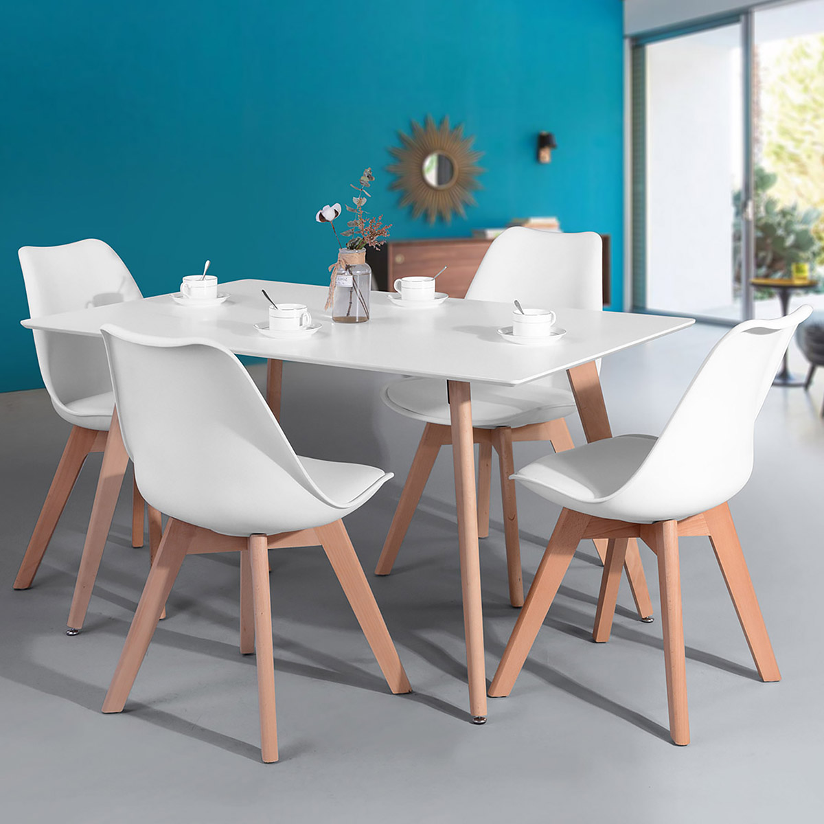 Geniqua Wooden Oak White Dining Table Contemporary Kitchen Room Furniture Beech Wood Leg Walmart Com Walmart Com