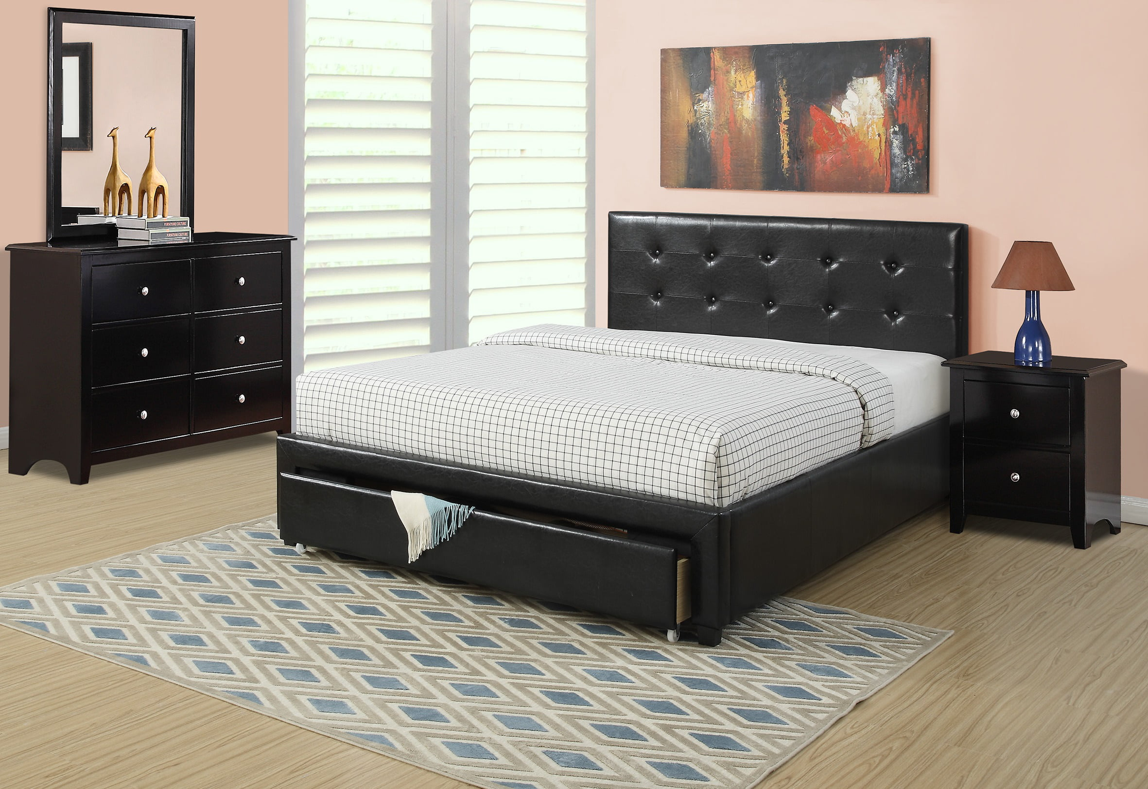 Full Bedroom: Black Faux Leather Full Size Bed W Storage Drawer FB