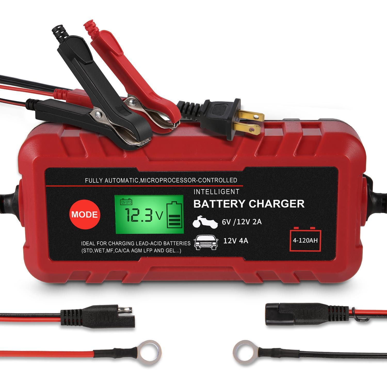 12V 2A Smart Battery Charger Portable Battery Maintainer US Auto Motorcycle Car Battery Charger Power Display Intelligent Protection