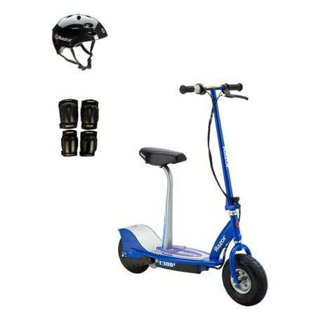 Razor E300S Seated Electric Scooter (Blue) with Helmet, Elbow & Knee