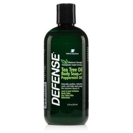 - Defense Soap Body Wash Shower Gel 12 Oz Peppermint | 100% Natural Tea Tree Oil and Eucalyptus Oil Helps Wash Away Ringworm, Jock Itch, Athlete's Foot, Psoriasis, Yeast, and Body Odor