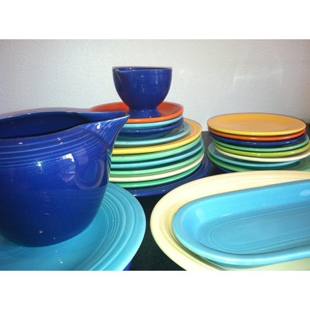 Canvas Print Colorful Dishes Fiestaware Plate Blue Stretched Canvas 10 x
