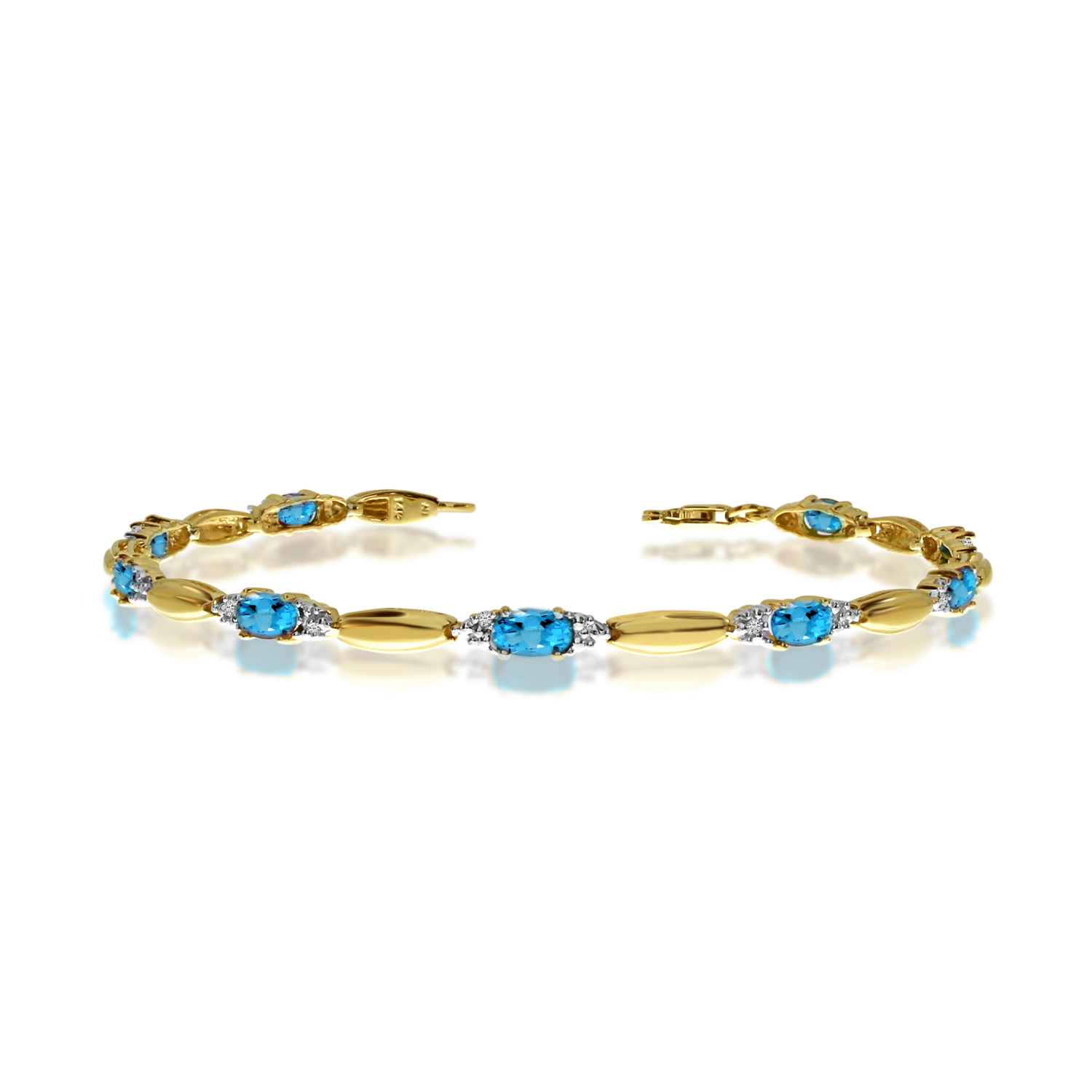 10K Yellow Gold Oval Blue Topaz and Diamond Bracelet by