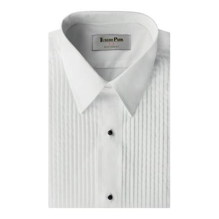 Collar White Shirt - Tuxedo Shirt- White Laydown Collar 1/4 Pleat Shirt