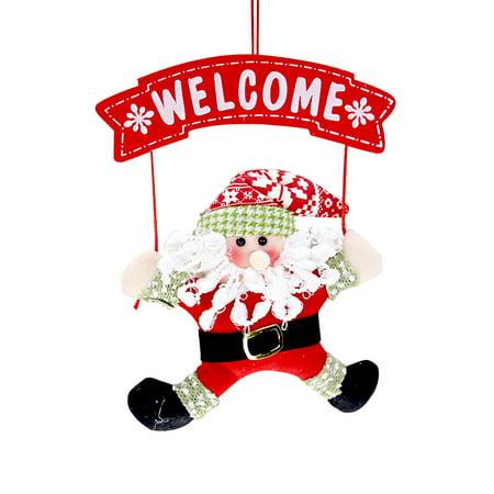 Handmade Cute Santa Claus Xmas Hanging Door Ornaments Decoration Christms Tree Decor Store Hotel Showcase Pendant Decorations Festival Party Favors