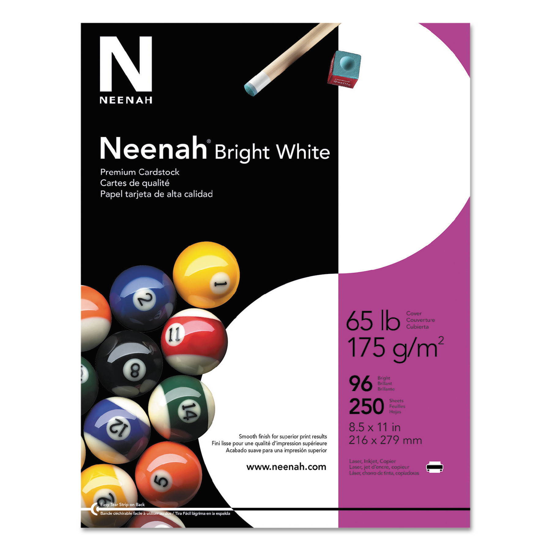 Neenah Bright White Card Stock, 65lb, 96 Bright, 8 1/2 x 11, White, 250 Sheets -WAU91904