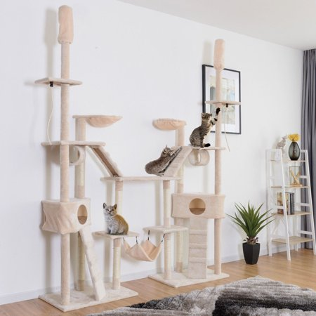 Gymax Large Cat Tree Multilevel Activity Tower Condo W/ Hammock Scratching Post Ropes (Cat Condos Hammock)