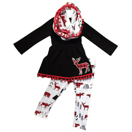 Toddler Girls 3 Pieces Set Christmas Deer Holiday Outfit Top Tunic Scarf Pant Set Black White 2T XS (P201072P)](Father Xmas Outfits)