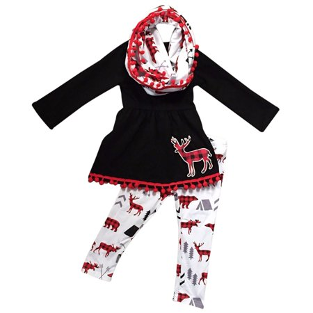 Toddler Girls 3 Pieces Set Christmas Deer Holiday Outfit Top Tunic Scarf Pant Set Black White 2T XS (P201072P) - Beautiful Christmas Outfits