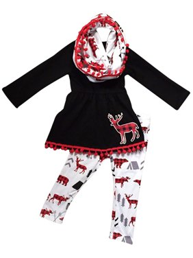 87858f698e Product Image Toddler Girls 3 Pieces Set Christmas Deer Holiday Outfit Top  Tunic Scarf Pant Set Black White