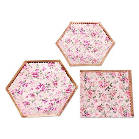 Vintage Tea Party (Koyal Wholesale Vintage Floral Tea Party Set, Blush Pink Peonies, 48 Piece Set 9-Inch and 7-Inch Plates, 50-Pack)