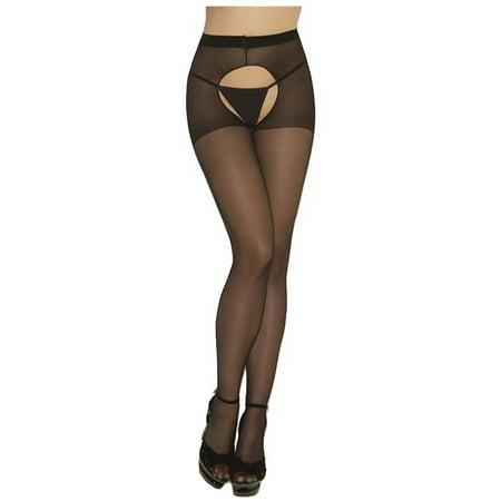 6b835a9b3c5af Luxury Divas - Black Sheer Crotch Less Hosiery Tights - Walmart.com