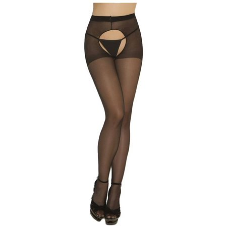 Black Sheer Crotch Less Hosiery Tights
