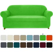 Subrtex Stretch Sofa Slipcover 2-Piece Non-slip Soft Fitted Sofa Couch Cover Washable Furniture Protector with Elastic Bottom for Arm Chair Loveseat Sofa, Polyester Spandex Jacquard Fabric Checks