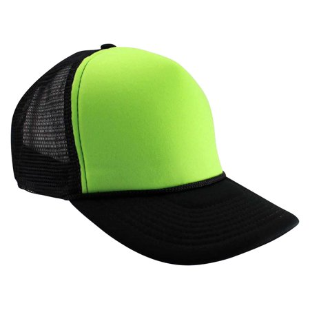 ecda4ca555b Trucker Style Foam Hats Bright Neon Colored Black Light Pool Party Rave  Summer Neon Black Green One Size - Walmart.com