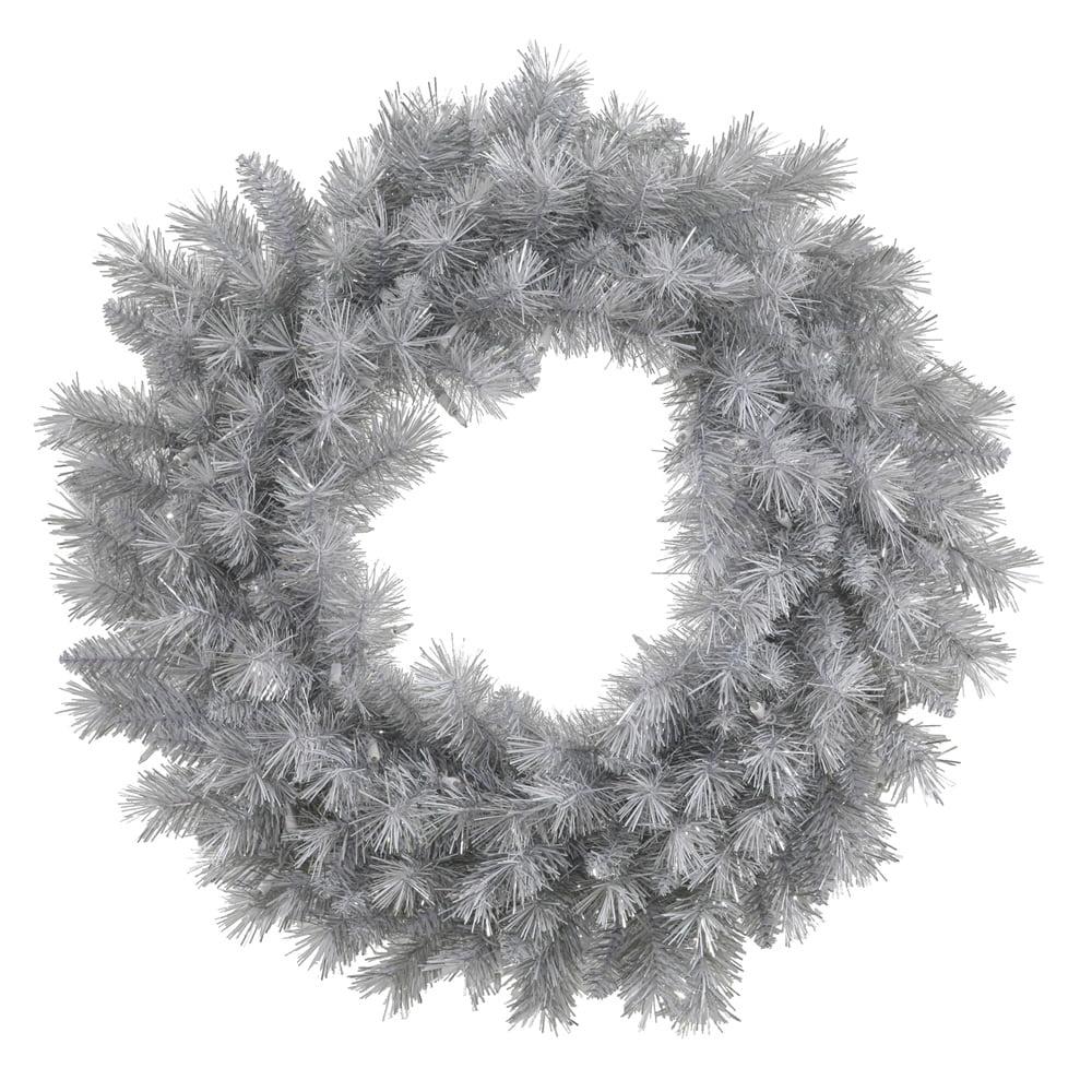 "48"" Silver White Artificial Christmas Wreath - Unlit"