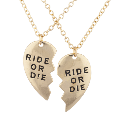 Lux Accessories Gold Tone Ride or Die BFF Broken Heart Charm Necklace Set 2PC
