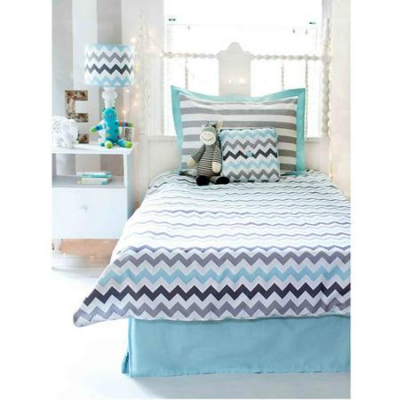 My Chevron Aqua Grey Twin Bedding Set Photo