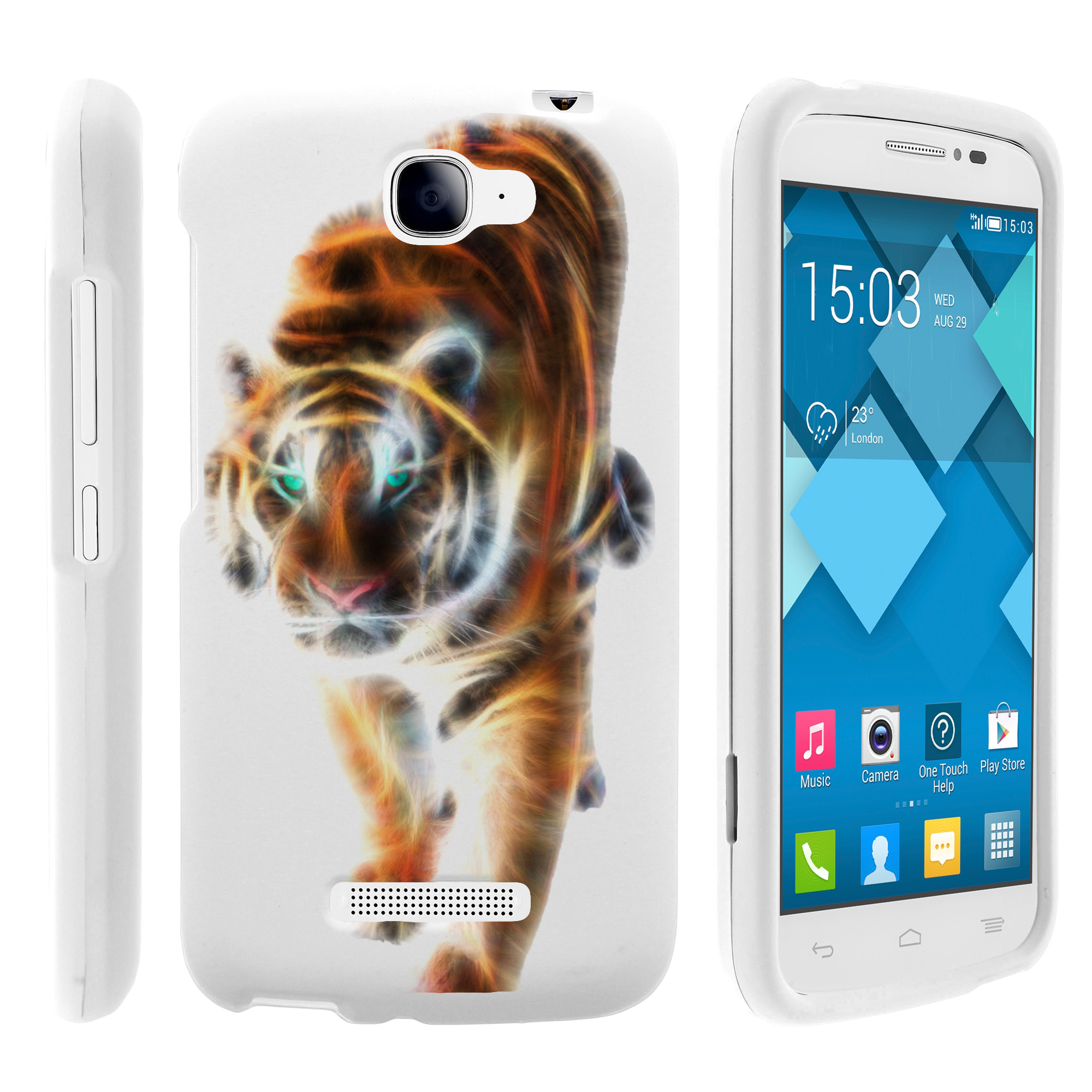 Alcatel Fierce 2, Pop Icon, 7040T, and A564C, [SNAP SHELL][White] 2 Piece Snap On Rubberized Hard White Plastic Cell Phone Case with Exclusive Art -  Blazing Tiger