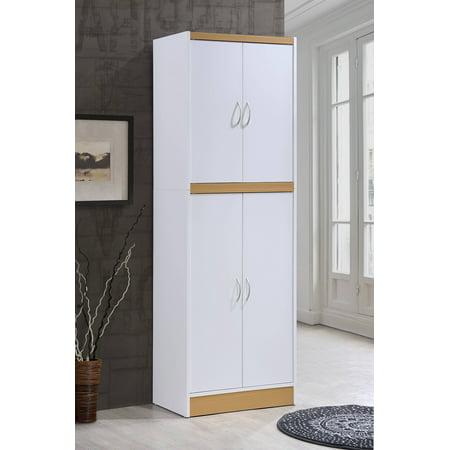 Hodedah 4-Door Kitchen Pantry with 4-Shelves, White ...