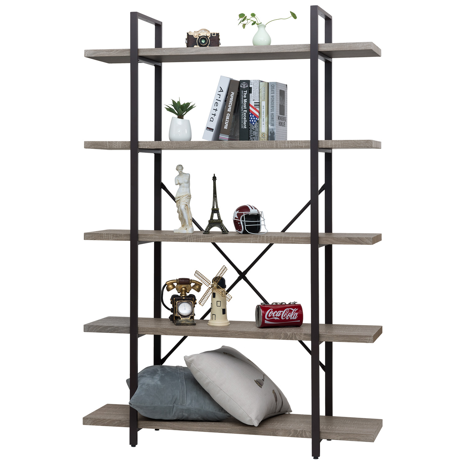 Ollieroo 5 Tier Rustic Vintage Bookcase Industrial Bookshelf, Grain Wood and Metal Shelves Furniture