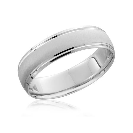 Pompeii3 Platinum Wedding Band Mens Brushed High Polished Beveled Ring