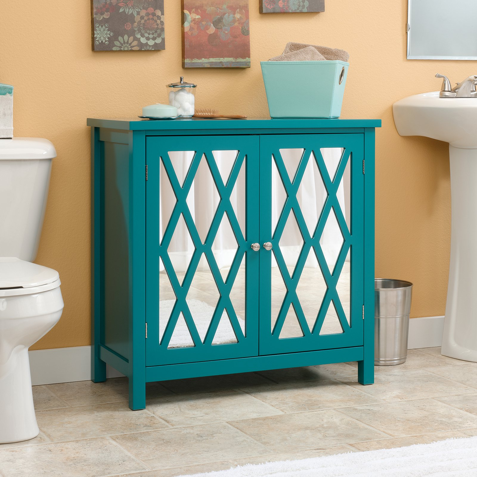 Sauder Harbor View Vale Cabinet, Caribbean Blue Finish