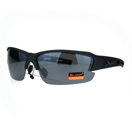 Mens Xloop Rectangular Half Rim Baseball Sport Plastic Sunglasses All Black ()