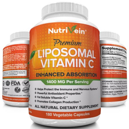 Immune System Lozenge (Nutrivein Liposomal Vitamin C 1400mg - 180 Capsules - High Absorption Ascorbic Acid - Supports Immune System and Collagen Booster - Powerful Antioxidant High Dose Fat Soluble Supplement- Vegan Pills)