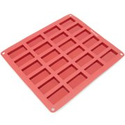 Freshware 24-Cavity Mini Financier Silicone Mold for Chocolate, Cookie, Candy and Soap, CB-115RD
