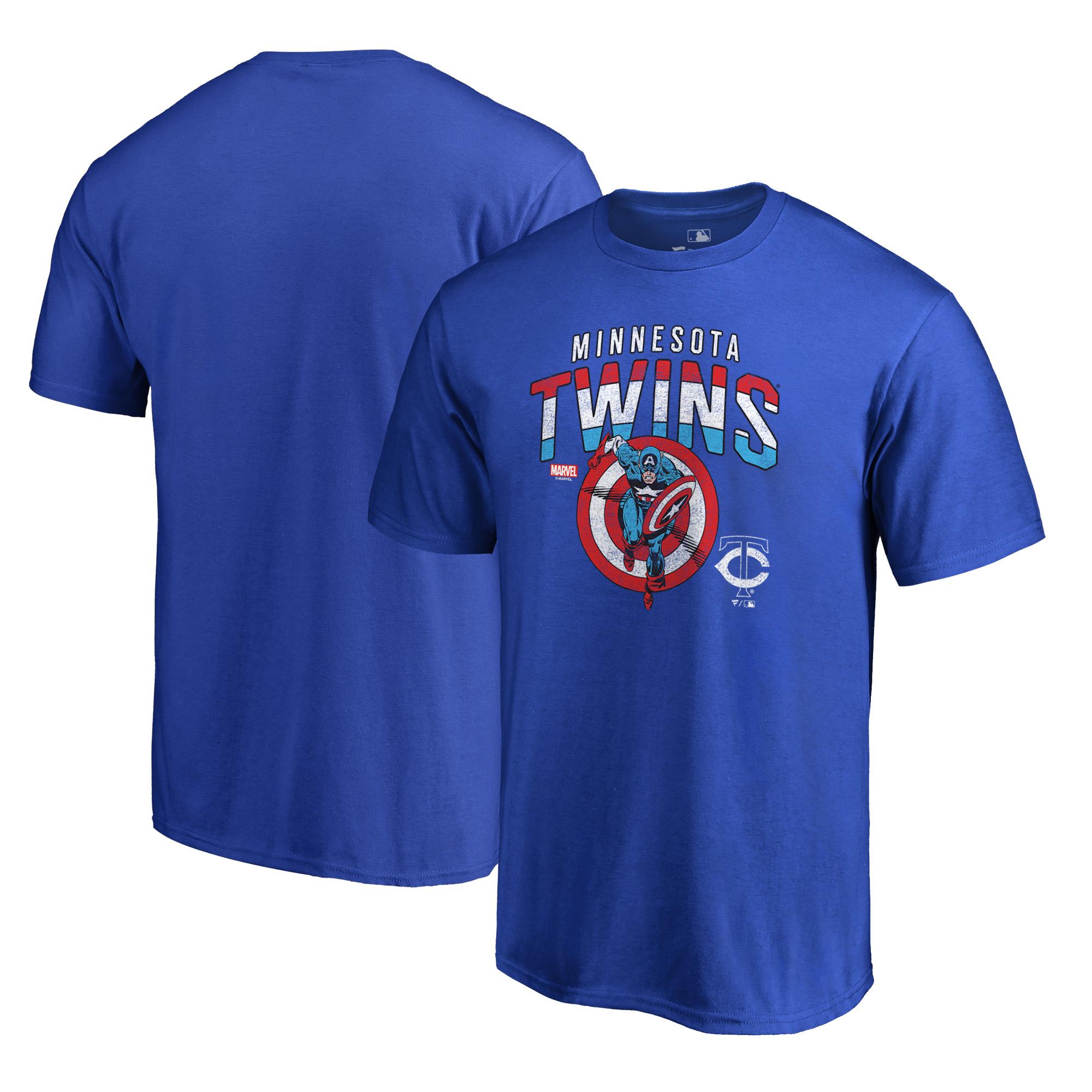 Minnesota Twins Fanatics Branded MLB Marvel Captain's Shield T-Shirt - Royal