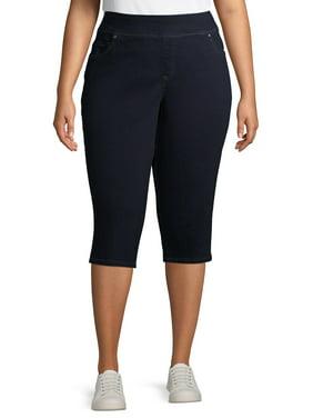 Terra & Sky Women's Plus Size Stretch Pull on Denim Capri Pants