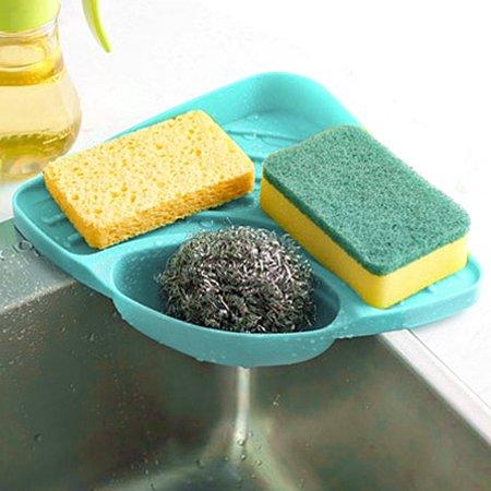 OkrayDirect Sponges Kitchen Sink Corner Shelf Wall Cuisine Dish Rack Drain