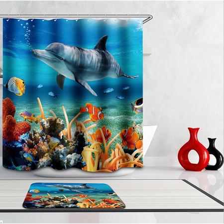 Tropical Ocean Dolphin Fish Design Bathroom Shower Curtain With Hooks Bath Curtains Accessories Home Decor