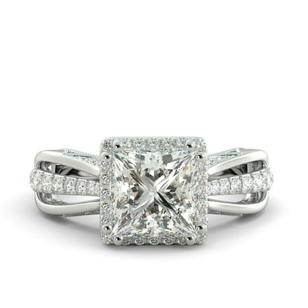 3.25 ct Princess Brilliant Moissanite & Diamond Solitaire Engagement Ring 14k White Gold