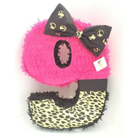 Cheetah and Pink Number Nine Pinata - Cheetah Pinata