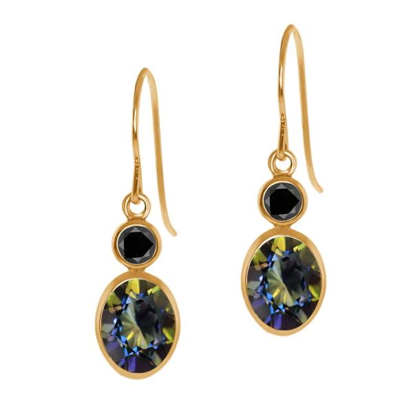 2.14 Ct Oval Blue Mystic Topaz Black Diamond 14K Yellow Gold Earrings