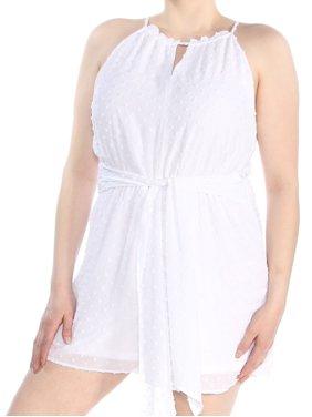 BAR III Womens White Swiss Dot Halter Sleeveless Halter Romper  Size: XL