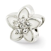 White Enamel with Swarovski Crystals Flower Charm in Sterling Silver