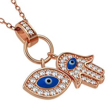 - 925 Sterling Silver Womens Evil Eye Hamsa Blue White CZ Pendant Necklace