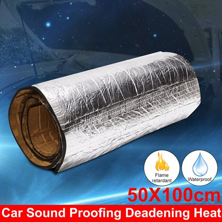 1 Roll Car Auto Vehical Sound Proofing Noise Proof Deadening Insulation Heat 10mm Closed Cell Foam Glass Fibre Flame Retardant Material 50X100cm