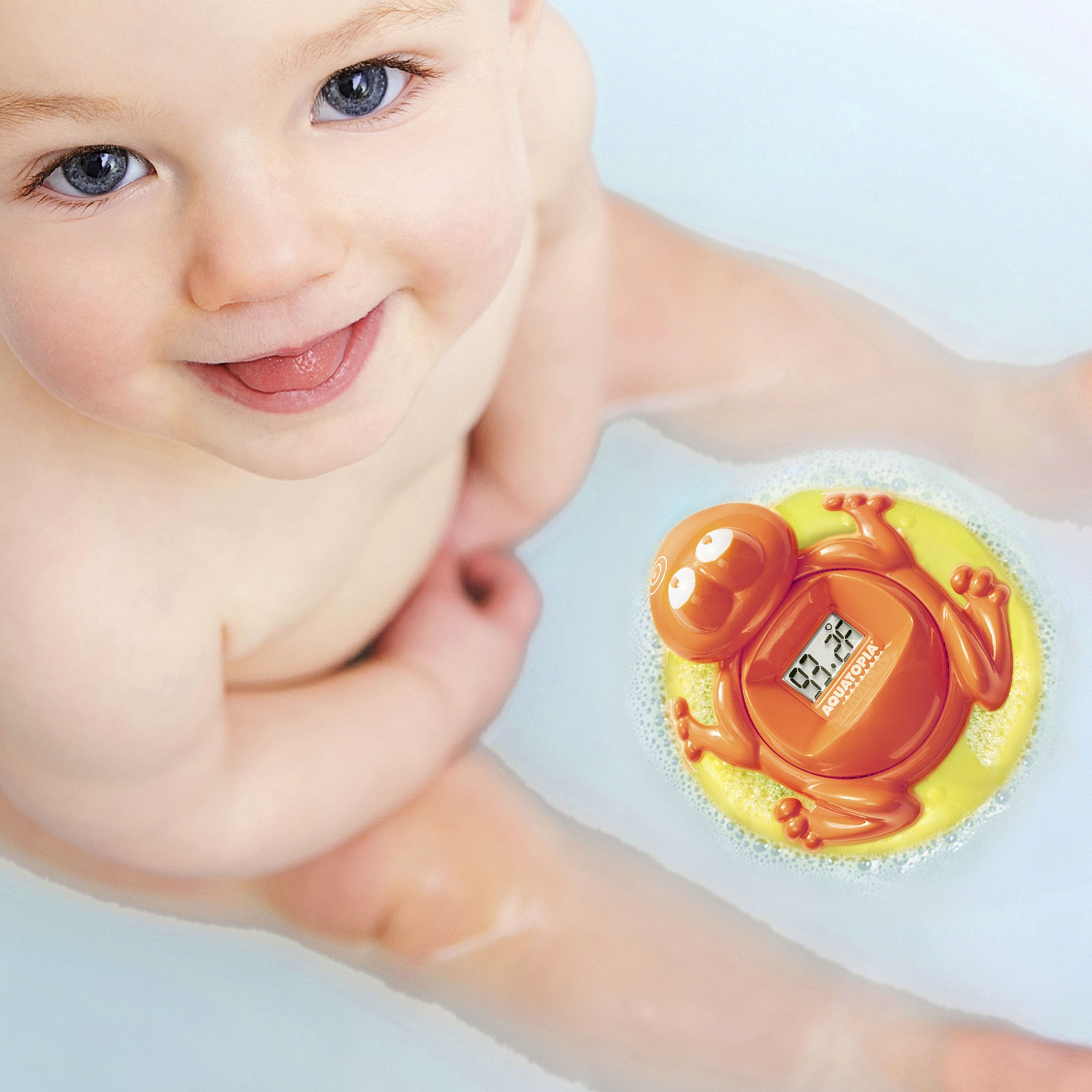 Aquatopia Safety Bath Digital Thermometer And Audible Alarm Orange Frog Walmart Com Walmart Com