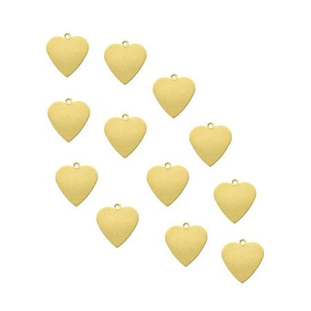 Brass Drop - 95 Brass Plated Alloy Metal Stamping Blanks Heart Drop 14x13mm