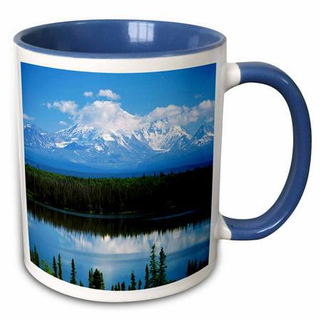 3dRose Willow lake, Mt Wrangell, St Elias NP, Alaska, USA - US02 AJE0029 - Adam Jones - Two Tone Blue Mug, (Rose Of Jericho Adam K & Soha Remix)