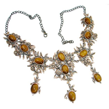 Master piece Nature inspired golden Tigers Eye .925 Sterling Silver handmade necklace by SilverRush Style